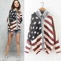 Con estilo de la Solapa de la Manga Rendido Jeans de Parches de Lana Suéter Cardigan de Punto Outwear Suéter de La Impresión de La Bandera Americana