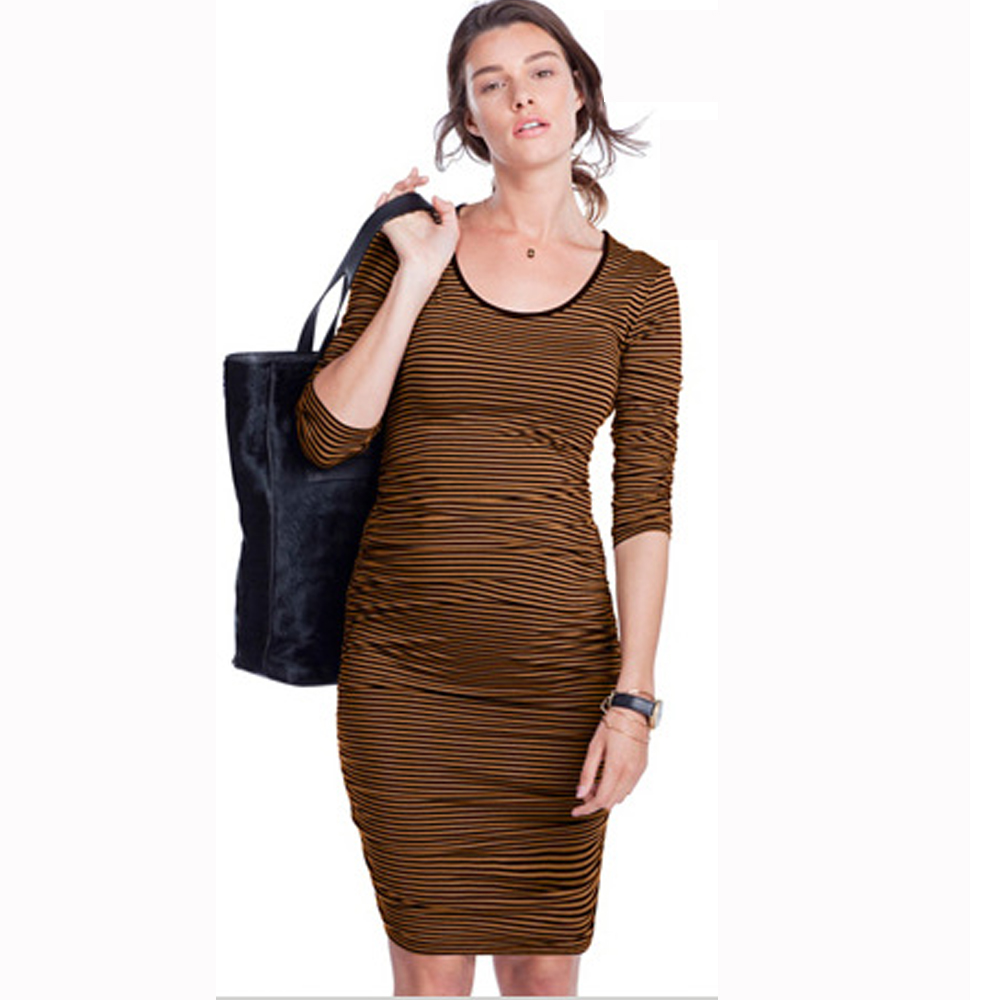 Knee Length Striped Maternity Wrap Dress Blue Orange Work Pregnancy Dresses O-Neck Casual Daywear Clothes for Pregnant Women orange roll neck casual dress with two side pockets