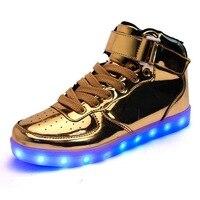 High-power LED Fabriek Direct LED Schoenen Goud en Zilver USB Opladen Lamp Schoenen Paar Student Board Schoenen Groothandel