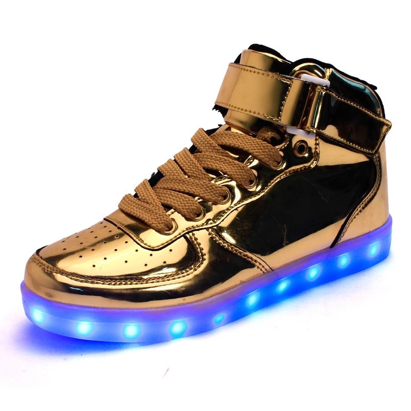High-power LED Factory Direct LED Shoes Gold and Silver USB Charging Lamp Shoes Couple Student Board Shoes Wholesale