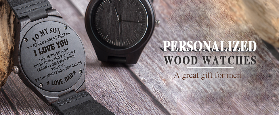 Family Gifts Personalized Special Groomsmen Wood Engraving Watch 9