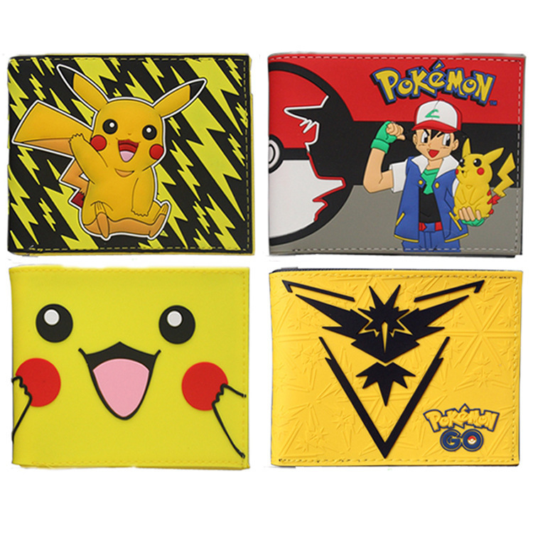 GAME Pokemon GO Pocket Monster Tema Valor Mystic Instinct wallet Short Leather Pu Bifold Purse pikachu Teenage wallet