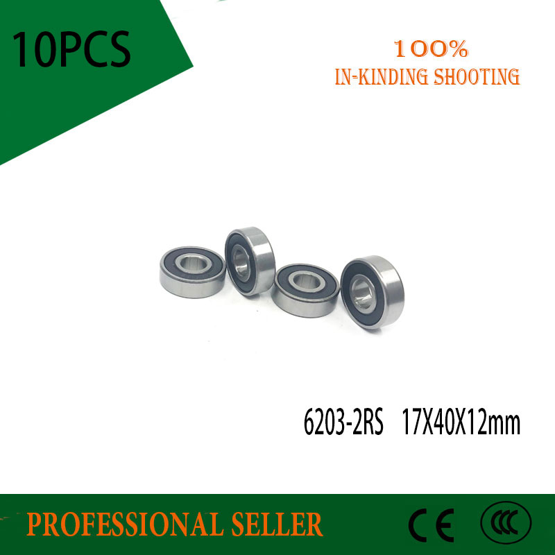 10pcs/Lot 6203-2RS 6203 RS 17x40x12mm Rubber Sealed Deep Groove Ball Bearing Miniature Bearing