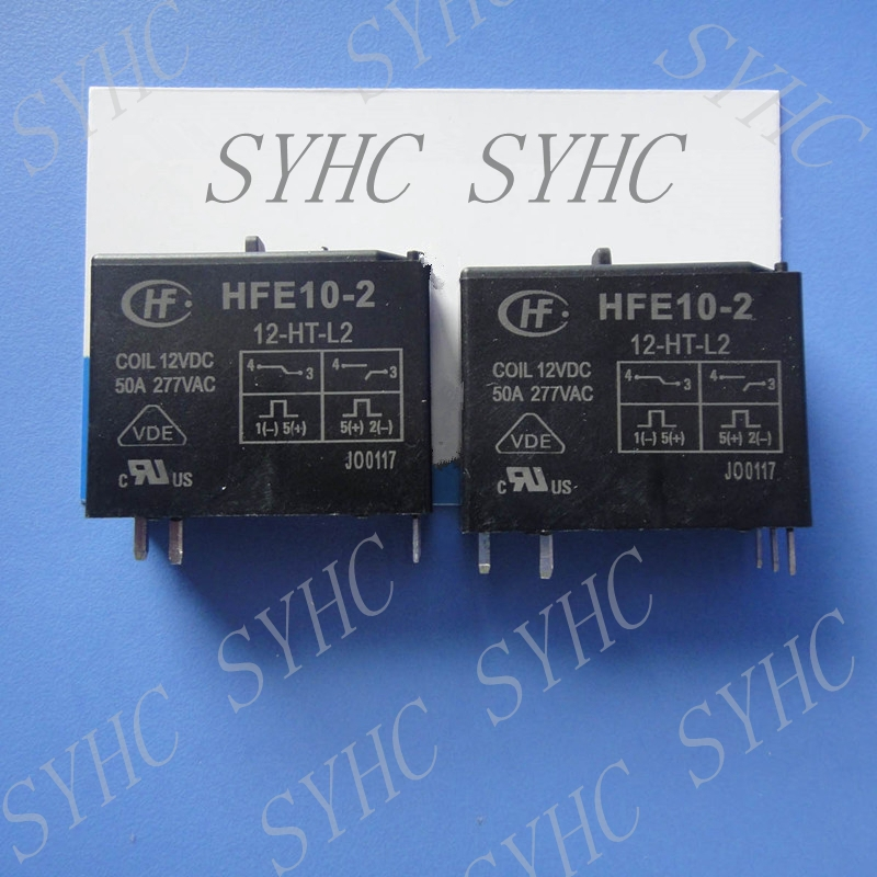 10pcs HONGFA Relay HFE10-2-12-HT-L2 HFE10-2/12-HT-L2 Latching Relay Hand wave function 12V coil 50A 2 12
