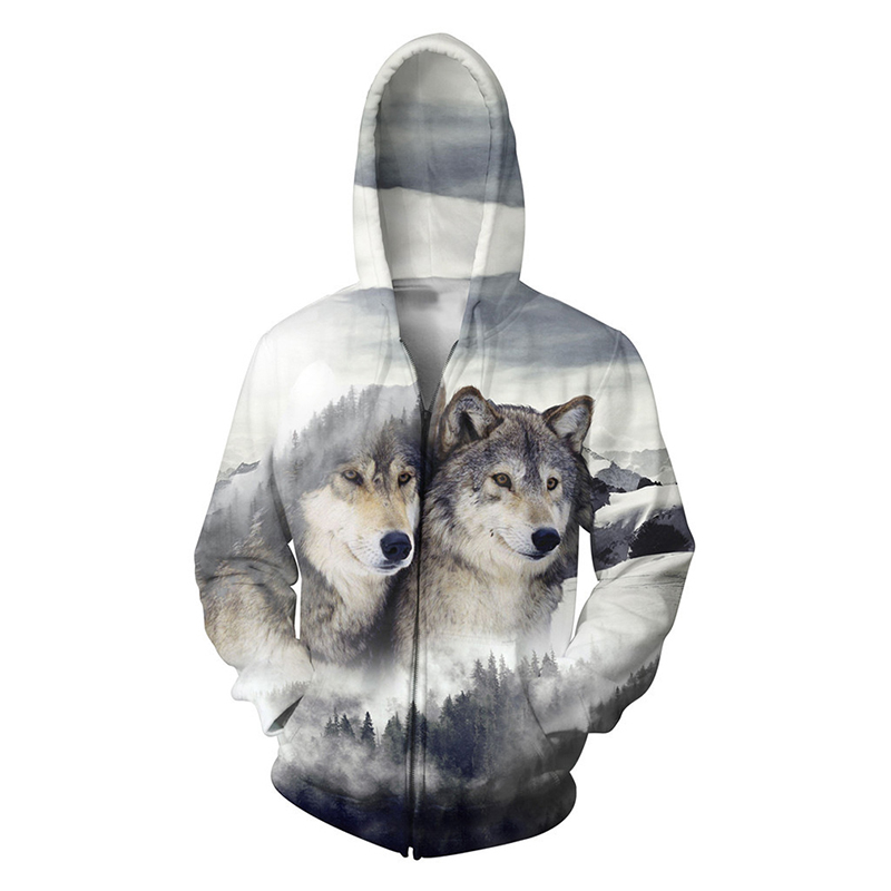 Plus Size 5XL Mens Hoodies 3D Wolf Print Sweatshirts Zip Up Hoody Jackets Zipper Animal Outerwear Coat Tops Fashion Clothing