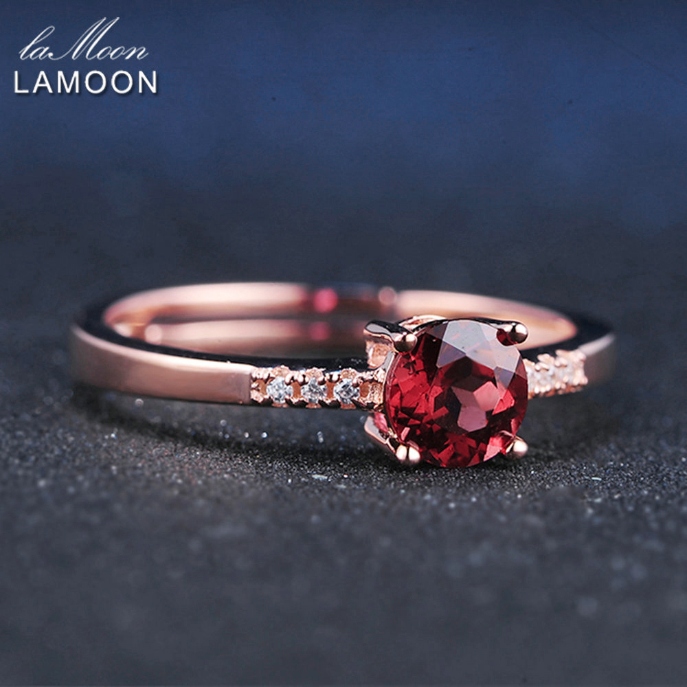LAMOON 925 Sterling Silver Ring Gemstone Garnet Ring 18K Rose Gold Plated Fine Jewelry Red Crystal Ring S925 Romantic LMRI012