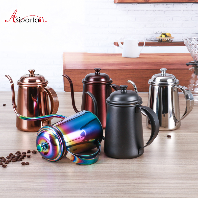 Asipartan Stainless Steel Coffee Pot Long Mouth Gooseneck Spout Kettles 650ml Tea Coffee Drip Pots Barista Tool Coffeeware