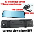 front 120 degree and back 170 degree wide angle 4.3 inch TFT screen waterproof Car rearview mirror DVR video recorder dual lens