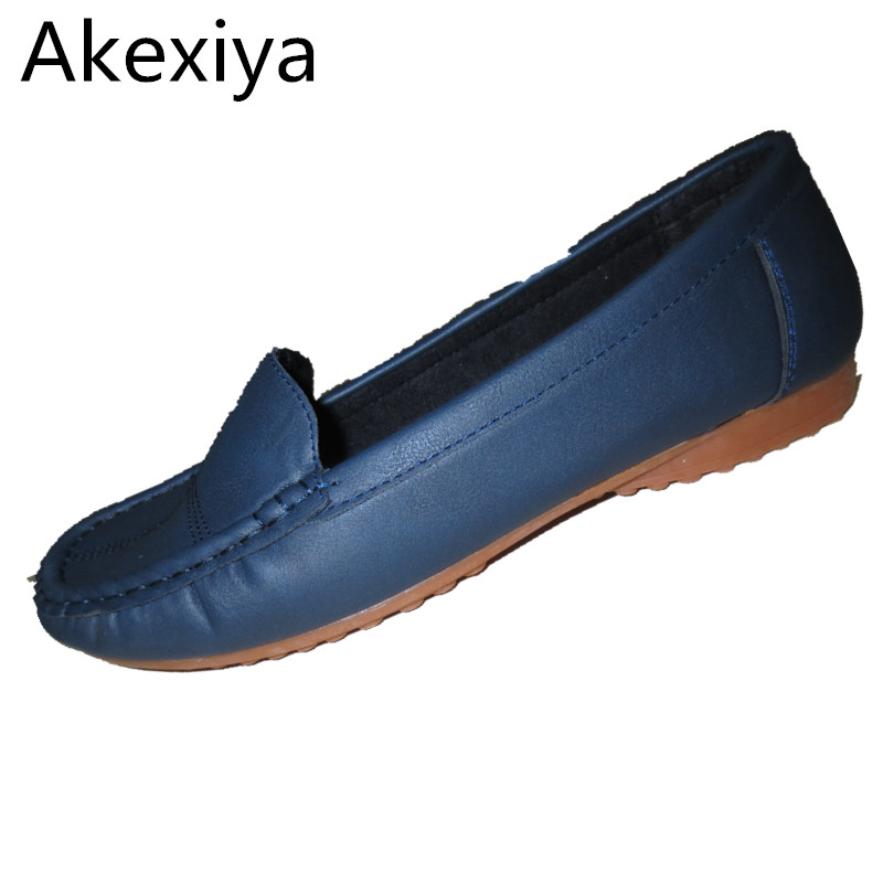 Akexiya Leather Shoes middle-aged Mother Shoes Tendon At The End Skid Shoes Shallow Mouth Soft Bottom New Work Shoes 2016 summer new leather tendon at the bottom side of the empty fish head crude rainbow low heeled shoes women xtf039