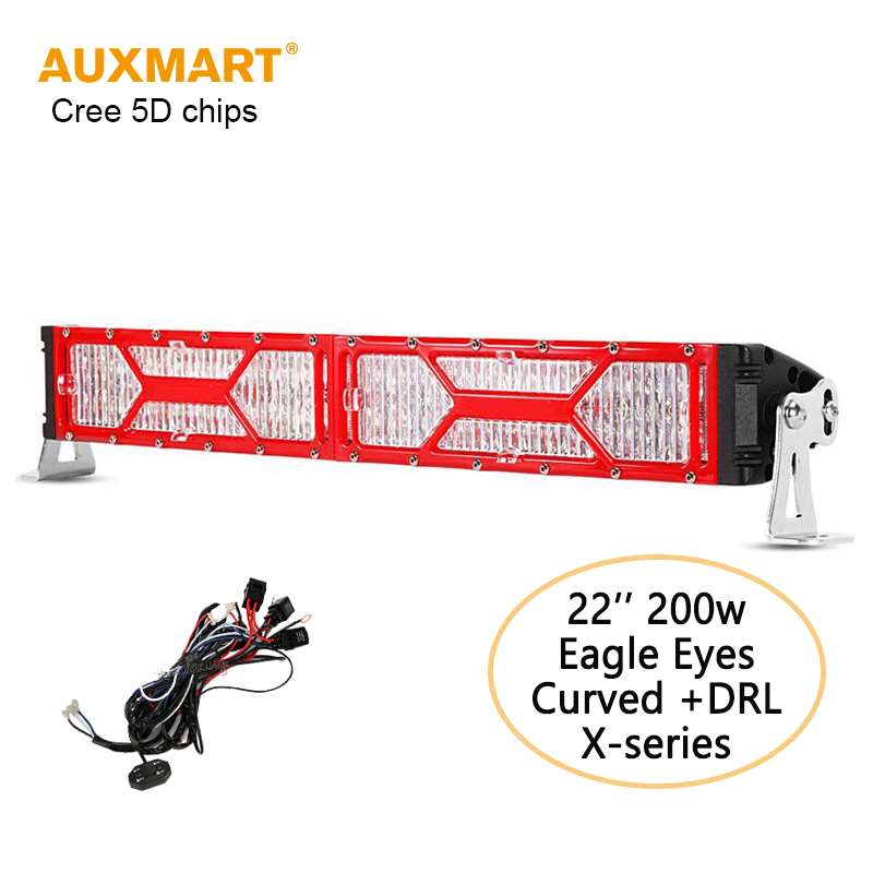 Auxmart Red Transformers 22'' 200W Light Bar Cree 5D Chips Curved Combo Beam Bar Light + DRL For 4x4 4WD Offroad 12v 24v ATV SUV