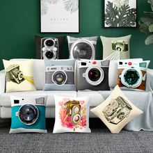 Camera cushion cover polyester sofa pillow cover decoration household pillow case Square Throw Pillow Vintage Camera Pillow castle buddha shadow chinese polyester toss throw pillow square cushion gift