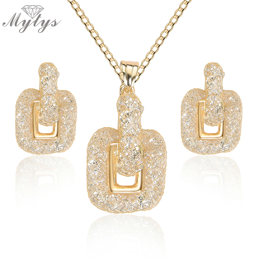 Mytys New Design Wire Mesh Crystal Jewelry Sets for Women Crystal Wire Mesh Net Earrings Drop Pendant Necklace Sets CN336 недорго, оригинальная цена