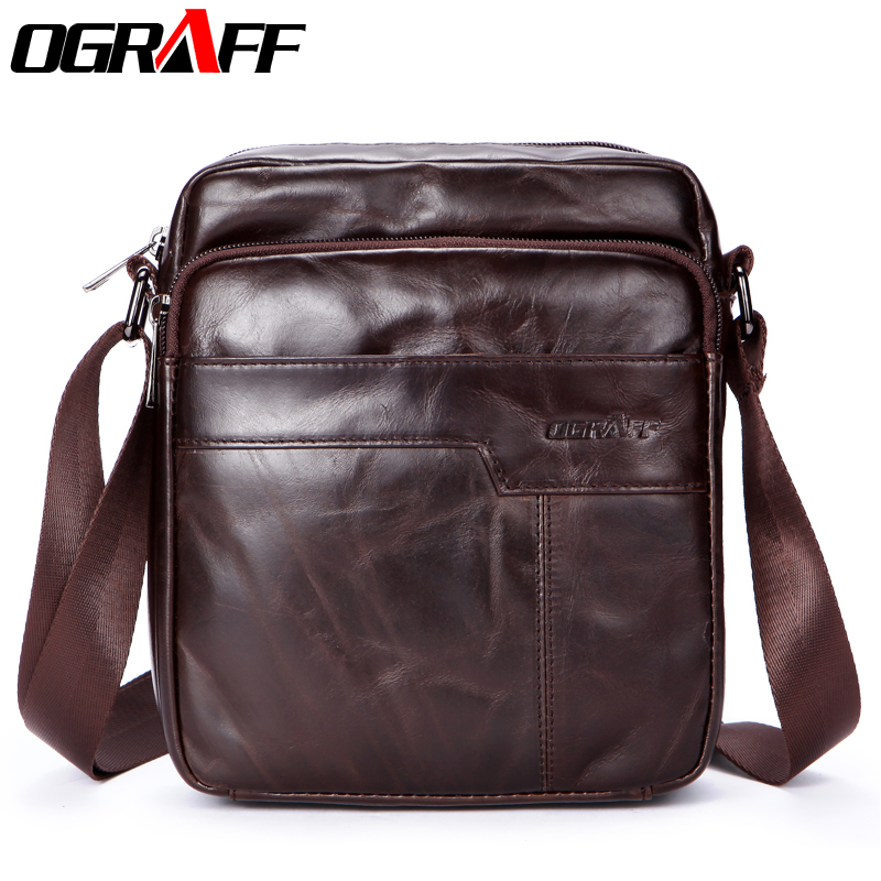 OGRAFF New Fashion Men bag Genuine Leather Messenger Bag Male Oil Wax Leather Cross body Shoulder Bag Cowhide Men Bag Briefcase aetoo the new oil wax cow leather bags real leather bag fashion in europe and america big capacity of the bag