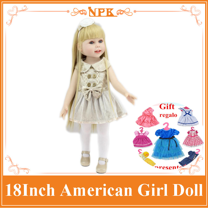18''45CM NPK American Girl Doll Brown Long Straight Hair Handmade Full Vinyl Silicone Bonecas Bebe Doll Toys Girls Brinquedos new arrival 18inch doll npk american sweet girl with curly long hair in floral skirt dress bonecas bebe kids gift brinquedos