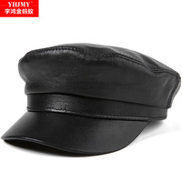 Genuine Leather Hat Cap Men's Baseball Cap Adult Sheepskin Flat Caps Students Winter Leisure Leather Hats New Year Gift B 8809