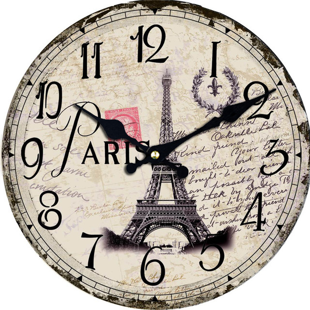 WONZOM Paris Scenery Towel Reloj Wall Clock Fashion Silent Living Room Cool Wall Decor Saat Home Decoration Watch Wall 2017 Gift