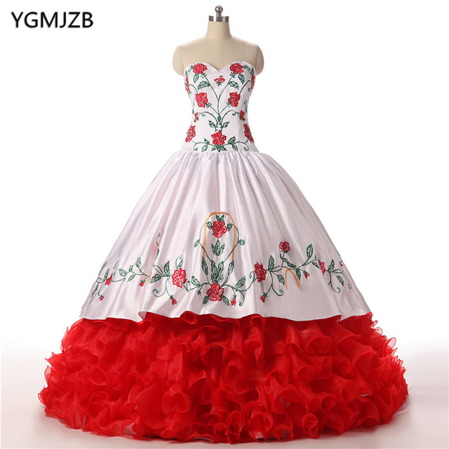 67c7b685be4 Vintage Quinceanera Dresses 2018 Ball Gown Red White Embroidery Ruffles  Vestidos De 15 Anos Sweet 16 Dress Prom Debutante Gowns
