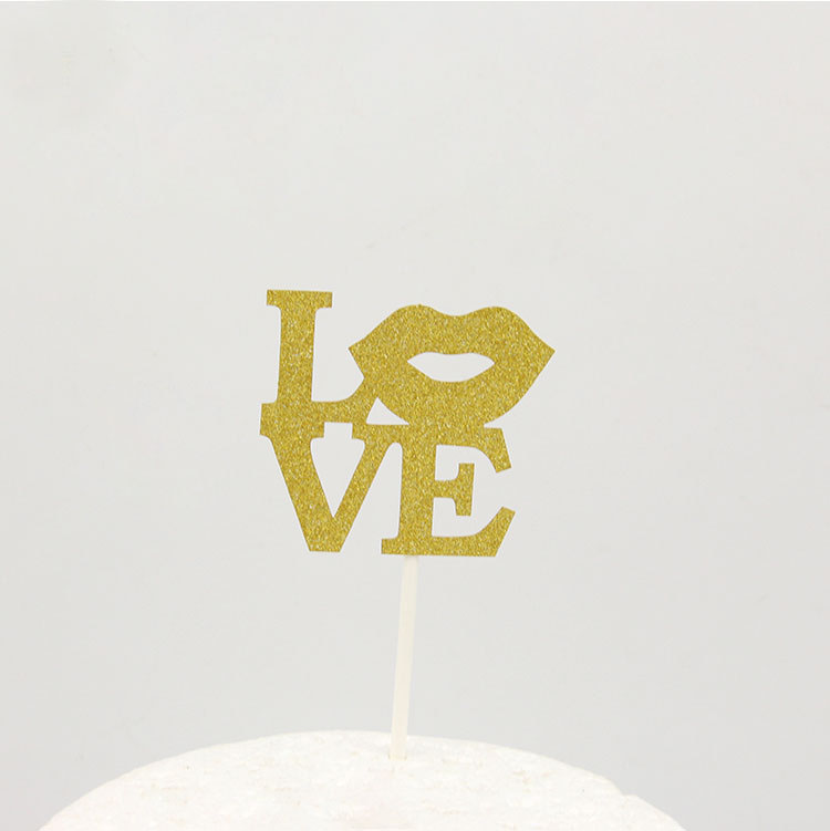 Cake Toppers Glitter Letter Love Cake Topper Lips Happy Birthday Cupake Flags Wedding Valentine DIY Decor Supplies Kids Patty in Cake Decorating Supplies from Home Garden