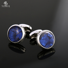 TOMYE Mens Cuff Links Classic Blue Crystal Silver Groom Gift Fashion Luxury Wedding Cufflinks and Studs for shirt XK19S054