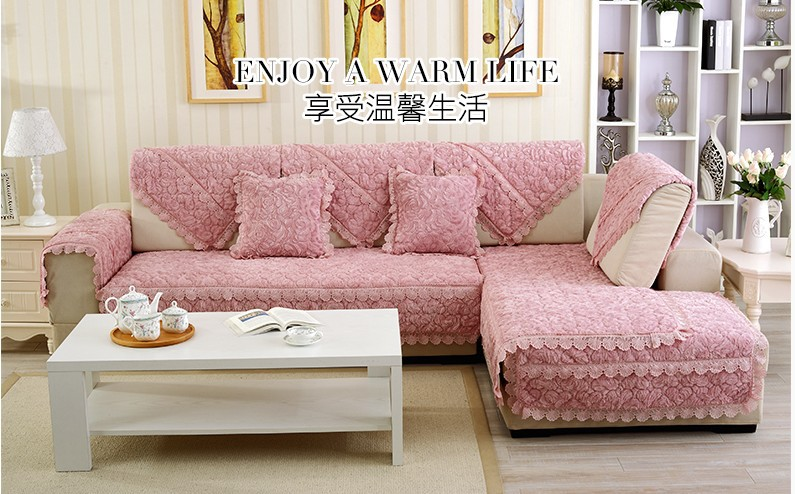 Thick Slip Resistant Couch Cover for Corner Sofa Made with Plush Fabric Including Lace for Living Room Decor 16