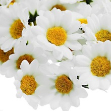 100 шт Искусственные цветы вечерние свадебные декоративные цветы мини шелк белый поддельные цветок ромашки(без стебля) 4 см DIY домашний декор