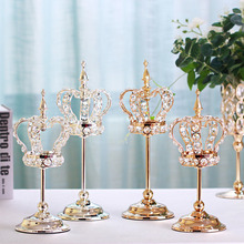 New Crystal Candlesticks Metal Candle Holders Home Decoration Anniversary Valentines Day Gifts Party Table Centerpieces Ornament
