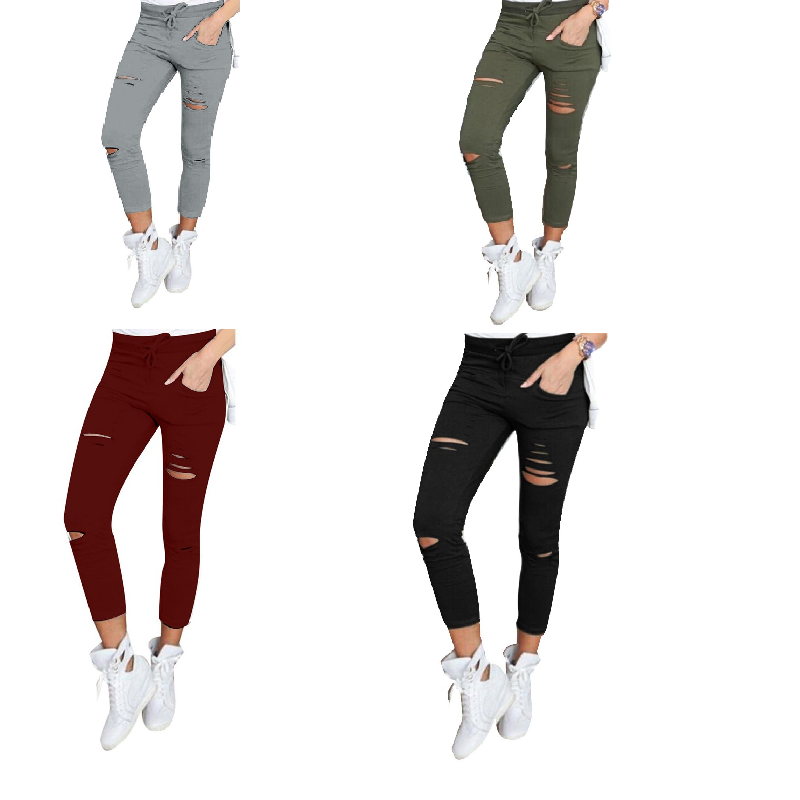NIBESSER Skinny pant capri Women Sexy Holes Pencil sweapant Summer Female High Waist Casual Trouser Stretch Ripped Jean PlusSize