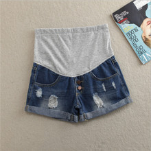 New maternity denim shorts 2019 summer thin section curling stomach lift hot pants pregnancy fashion hole