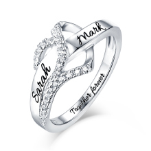 AILIN Personalized Sterling Silver Heart CZ Ring For Her Name Engraved Ring For Lady Couple's Gift rhinestone sterling silver engraved leaf ring
