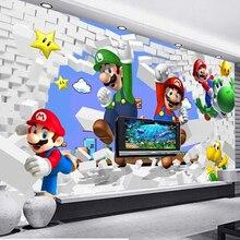 Пользовательские обои для детей. Супер Марио анимация, 3D современные фрески для гостиной диван детская комната настенные виниловые обои