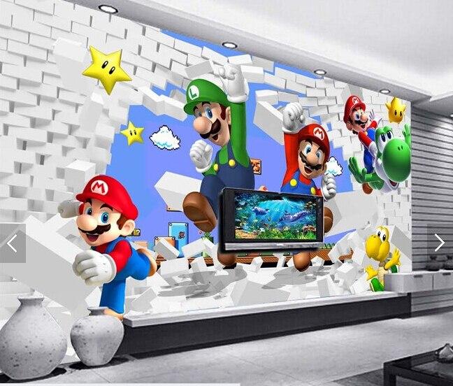 US $15.85 47% OFF|Benutzerdefinierte tapete für kinder. Super Mario  Animation, 3D moderne wandbilder für wohnzimmer sofa kinderzimmer wand  vinyl ...