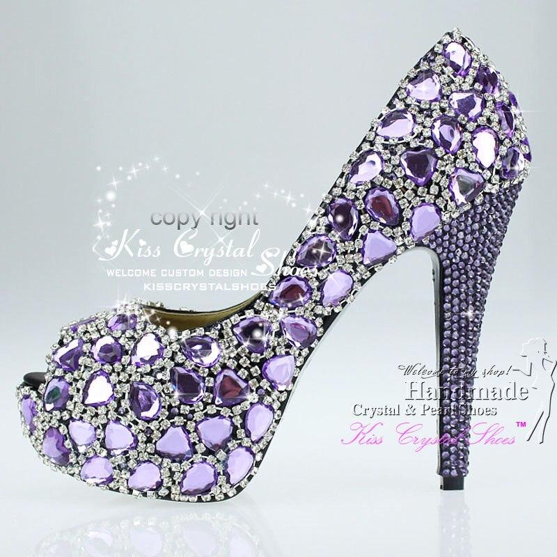 Purple Wedding Pumps Open Toe Sexy Fashion Diamond Shoe
