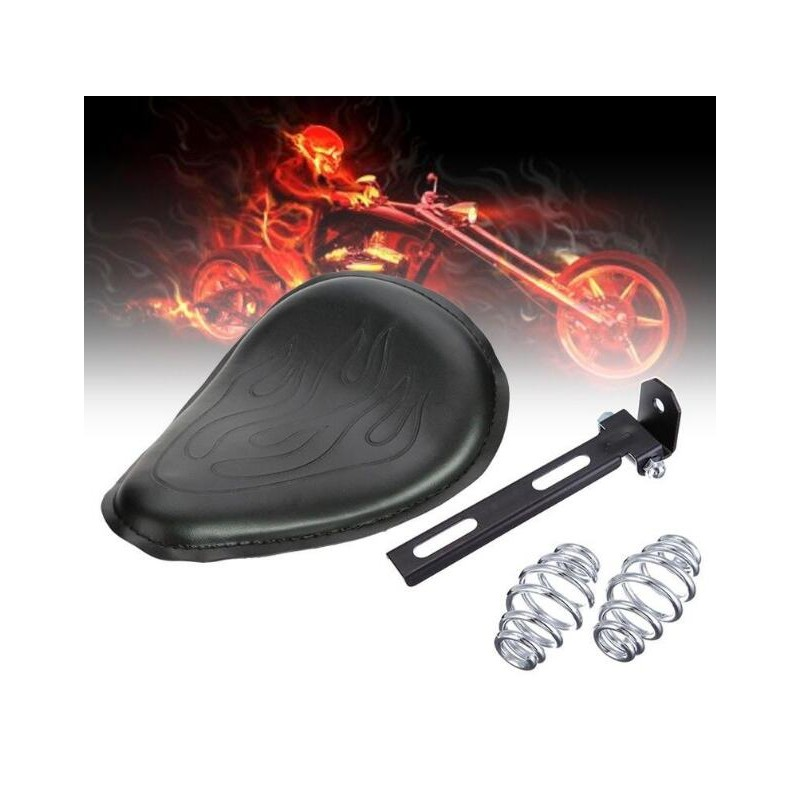 Motocycle Black Flame Leather Solo Spring Bracket Seat For Harley Sportster XL 883 1200 48 Chopper