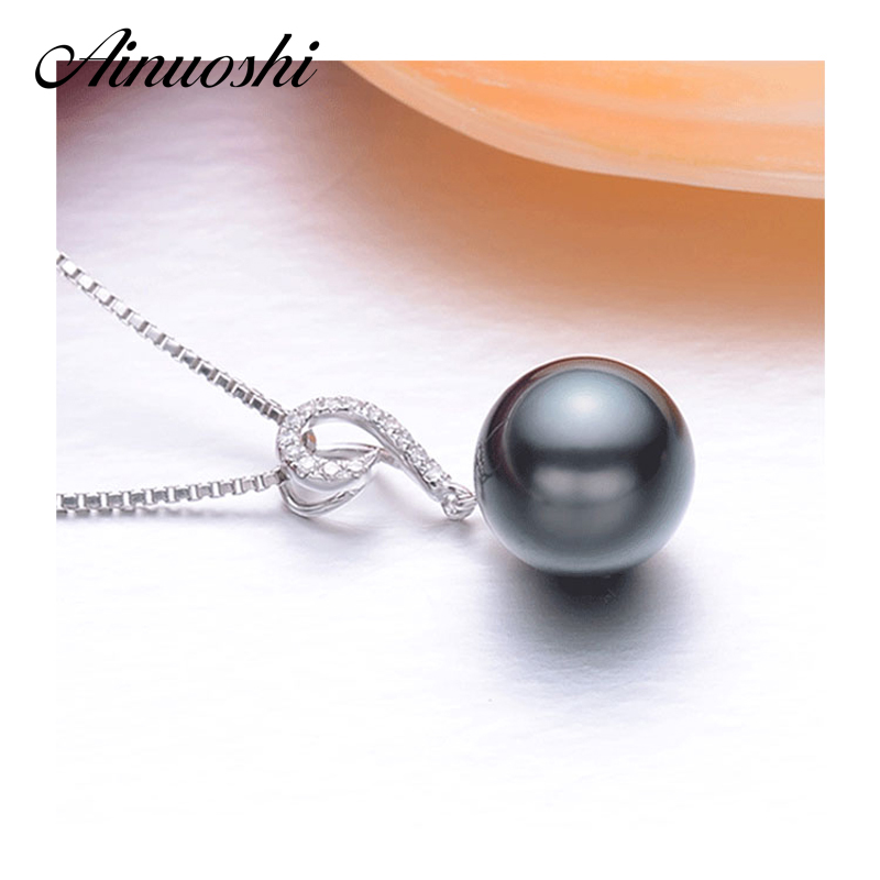 AINUOSHI Natural Tahitian-cultured Black Pearl Pendant Necklace 925 Sterling Silver Hook 10mm Round South Sea Pearl Fine Jewelry ainuoshi 925 sterling silver leaves shaped pearl earrings 9 5 10mm natural tahitian black pearl round pearl lover stud earrings