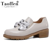 TAOFFEN Teens Spring Bowknot Round Toe Flats Shoes Women School Girls Party Dating Gift Flats Shoes Low Heels Size 34 41