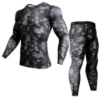 2 Piece Tracksuit Men Compression MMA Long sleeve t shirt Rashgard kit Camouflage Sweatshirt+leggings Fitness Thermal underwear underwear brand menswear thermal underwear skull 3d pattern printing rashgard kit man tracksuit thermal underwear base layer 4xl