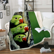 Plstar Cosmos colorful Parrot brid Blanket 3D print Sherpa on Bed Kids Girl Flower Home Textiles Dreamlike style-3