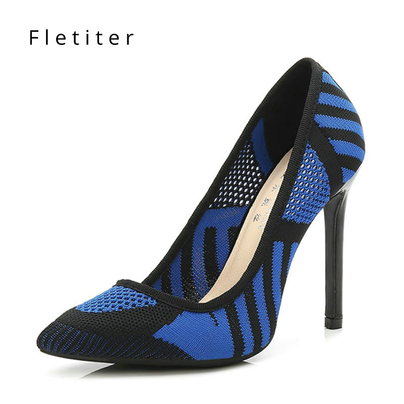 Brand Shoes Woman High Heels 12 cm Women Pumps Single Dress Shoes Lady Thin  Heels Hollow Female Pumps Plus Size Pointed Toe 45 530fbf97d3ea