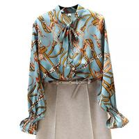Women Stylish Chains Print Blouse Bow Tie Collar Long Sleeve Oversized Shirt Female Casual Vintage Chic Loose tops Blusas T345