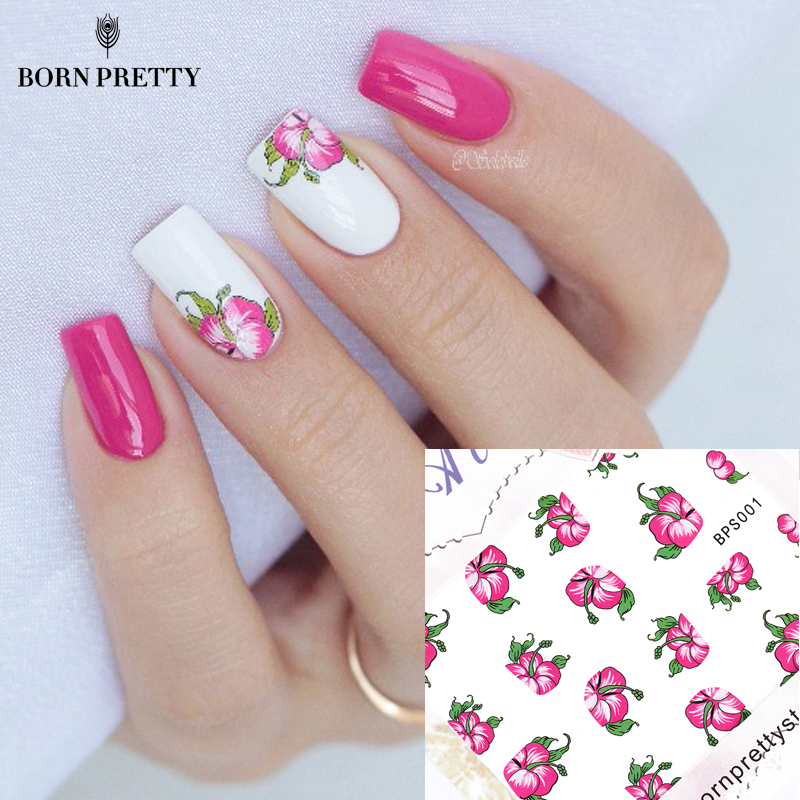 Red Bloomy Floral Flower Nail Art Water Decals Transfer Stickers Nail Sticker Manicure Decoration G113 44psc set 5 5 6 5cm mixed flower water transfer nail stickers decals art tips decoration manicure stickers ongles for holiday