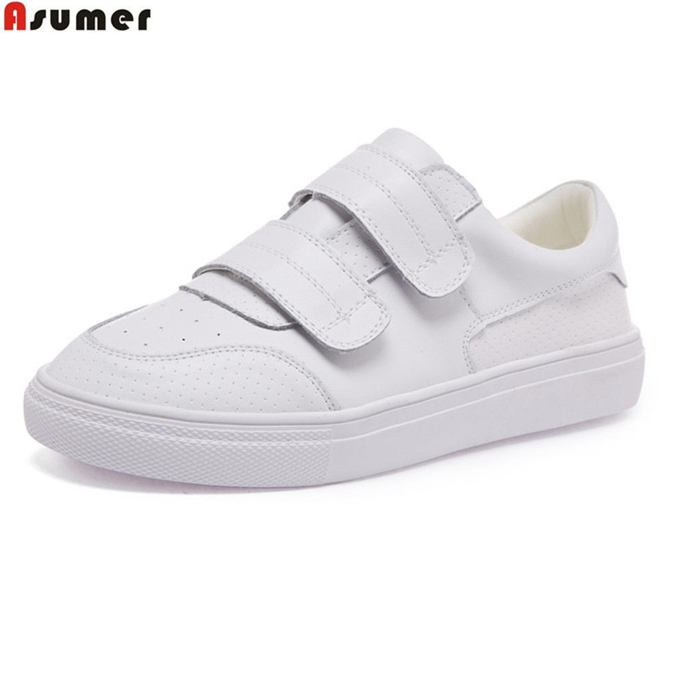 Asumer white spring autumn women shoes round toe ladies genuine leather flats shoes casual sneakers single shoes asumer black white fashion spring autumn flat shoes woman round toe casual sneakers shoes women genuine leather flats