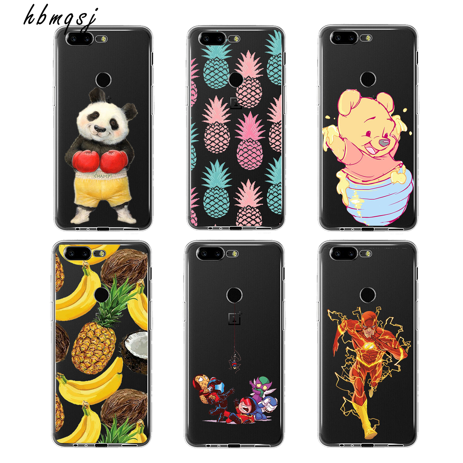 Business for oneplus 5t 5 t case Silicone Soft Cover cartoon character cat pussy banana pineapple fruit cute painted phone armor