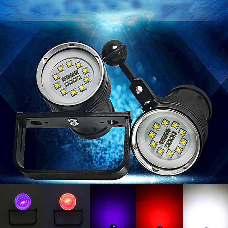 Diving LED flashlight underwater photography fill light flashlight 10CREE XML2 white 12000Lumens with 4 blue 4