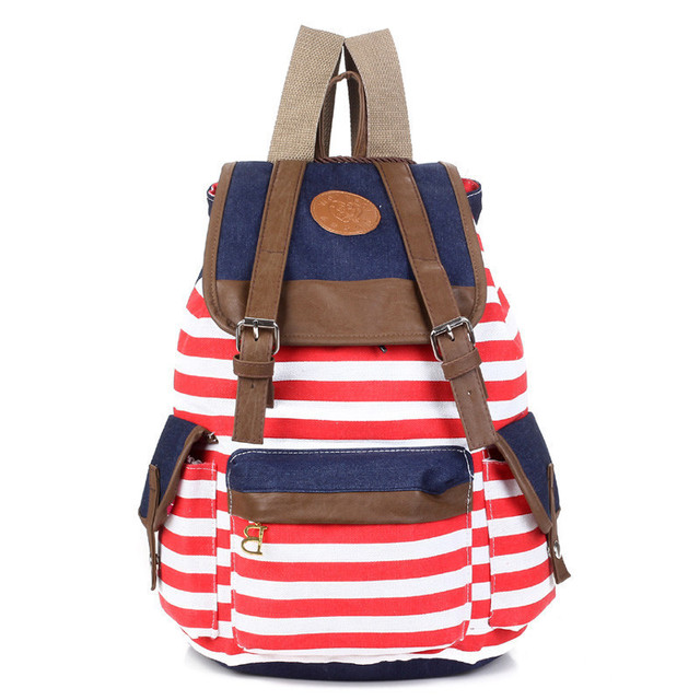 Women backpack New fashion stripe casual canvas backpack school bags preppy style female school backpacks good quality 3