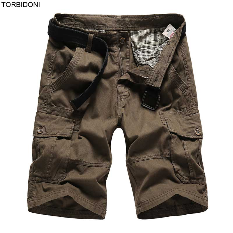 Solid Cargo Shorts Men New Bermudas Masculina De Marca Casual Cargo Shorts Male Loose Work Shorts Fashion Short Pants Masculino