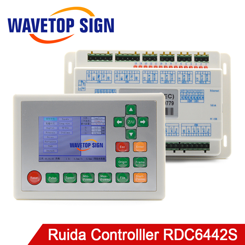 Ruida RDC6442S Laser Machine Control Card Co2 Laser Controller support 2heads use for laser cutter laser engraving machine laser controller tl 403cb laser machine control system instead tl403cia co2 laser mainboard use coreldraw software