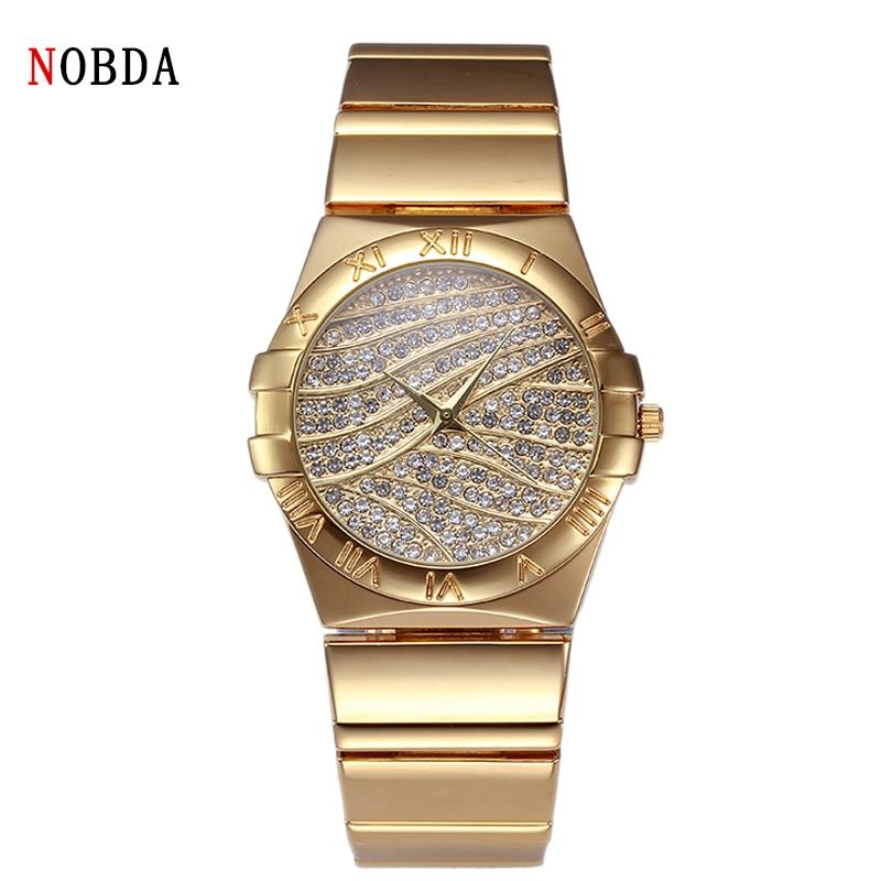 2016 NOBDA Luxury Brand Quartz Klockor Klockor Diamond Klocka Tt Armband Ladies Fashion Guld Armbandsur För Kvinnor Armbandsur
