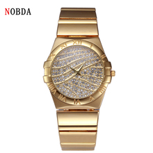 2016 NOBDA Luxury Brand Quartz Women Watches Diamond Clock tt Bracelet Ladies Fashion Gold Wristwatch For Women Wrist Watches