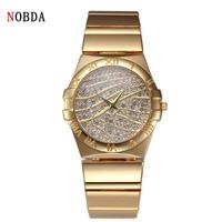 Oferta 2016 NOBDA marca de lujo cuarzo mujeres relojes reloj diamante tt pulsera señoras moda reloj de pulsera de oro para mujeres relojes de pulsera