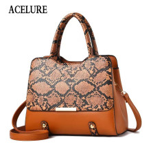 ACELURE Fashion Woman Handbag Pu Leather Bag Female Snake Pattern Tote Quality Leather Evening Clutch Shoulder Bag Messenger Bag(China)